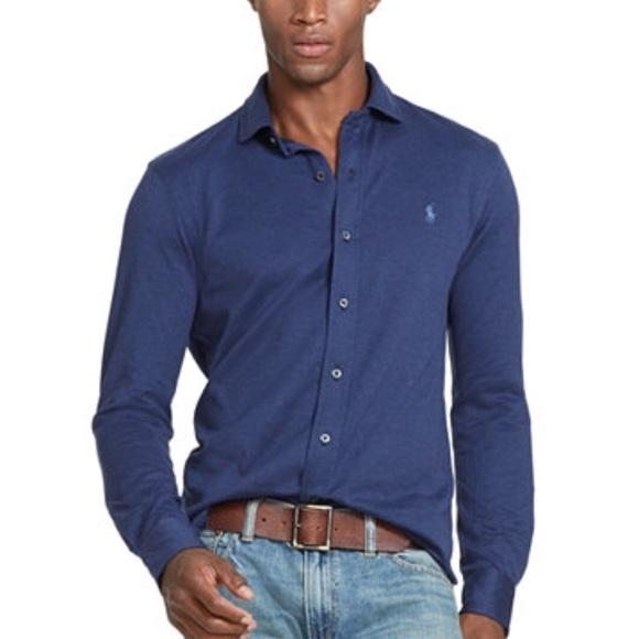 Polo Ralph Lauren Blue Estate Knit Dress Shirt XL